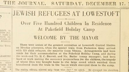 The Lowestoft Journal from 1938, detailing the arrival of refugees in Lowestoft.