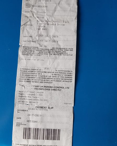 The text on Jos' ticket says he was fined because he breached the parking restrictions by leaving th