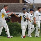 Rainham's Jon O'Neill (left) and Jas Hothi celebrate a victory in the T-Rippon Mid-Essex League (pic
