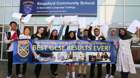 Kingsford Community School, E6 5JG. GCSE Results.Top students pictured opening and celebrating thei
