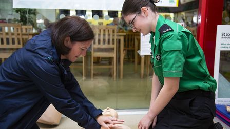 Cadet first aider Niamh Rogan-Hill with Eileen Rogan-Hill at the opening of St John Ambulance's pop-