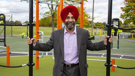 Leader of the council, Jas Athwal trying out the equippment. Picture: Ellie Hoskins