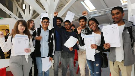 East London Science School pupils celebrate their GCSE results. Picture: Melissa Page