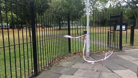 Police tape at Stratford Park, a short distance from the scene of the fatal attack. Picture: Andrew