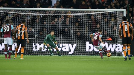 West Ham United's Mark Noble scores his side's first goal of the game from a penalty during the Prem