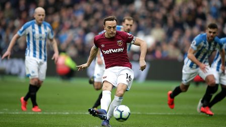 West Ham United's Mark Noble scores his side's first goal of the game from the penalty spot during t