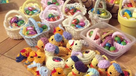The Easter chicks created by Zoiyar Cole, which are on sale in Lowestoft. Picture: SUPPLIED