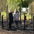 Carlton Colville Primary School pupils Edward Dyer and Daisy Reynolds with the remains of the Celti