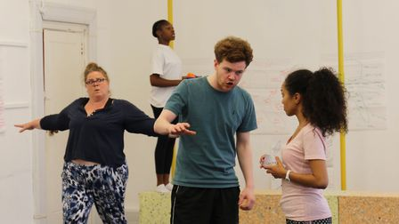 The Border's case in rehearsals - Lucie Capel, Rujenne Green, Matt Littleson and Jazmine Wilkinson.