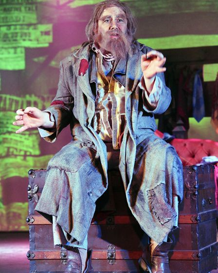 Jai Sepple as the crafty Fagin in Brookside Theatre's Oliver! Picture: Ted Sepple