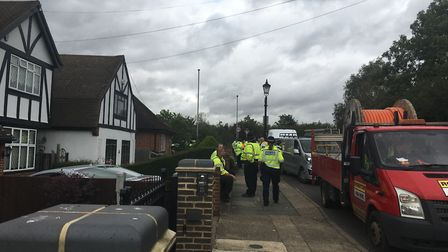 Police officers checking vans during an ANPR operation in Gallows Corner on Thursday, September 12.