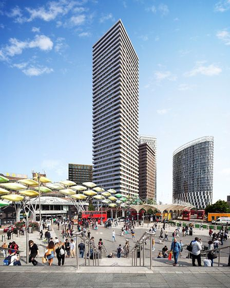 The proposed development includes a 42-storey tower block. Picture: AHMM Architects