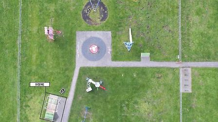 A drone shot of Amy's Park in St Neot's Road, Harold Hill where Jodie Chesney was fatally stabbed. P