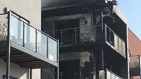 Balconies at a four-storey block of flats in Harold Wood were destroyed by fire. Picture: London Fir