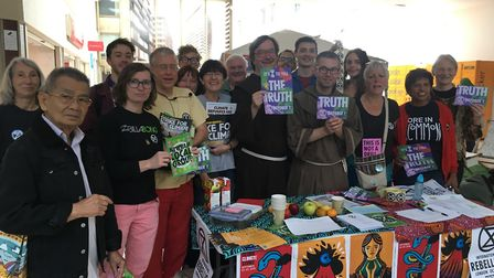 Members of Newham Extinction Rebellion with supporters at the Stratford Centre. Picture: Jon King