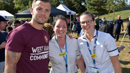 West Ham United midfielder Jack Wilshere meets Newham General Hospital staff at the open day. Pictur