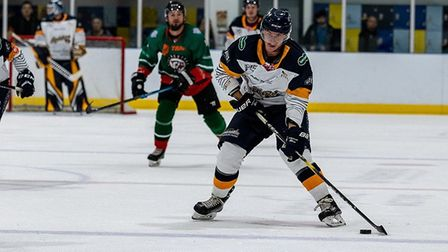 Blahoslav Novak rushes up ice with the puck against Basingstoke Bison (Pic: Kev Lamb)