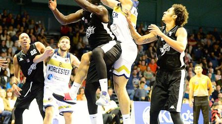 Action from London Lions' BBL Cup clash at Worcester (pic Graham Hodges)