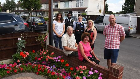 Residents of Harwood Avenue getting their front gardens ready for the London In Bloom competition la