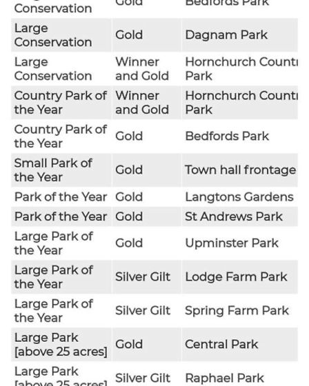 Full list of Havering's awards from this year's London in Bloom. Picture: Infogram