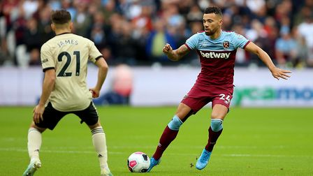 West Ham United's Ryan Fredericks (right) in action during the Premier League match at London Stadiu
