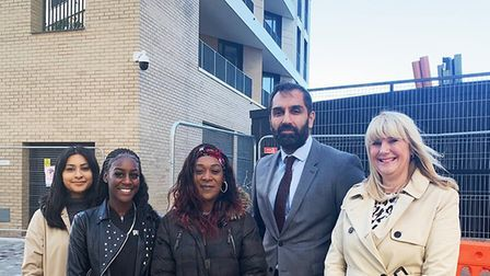 Cllr Farah Hussain and Cllr Kam Rai with Sandra Fawcett and new Paragon residents. Picture: Redbridg