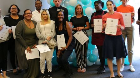 Some of the pre-entry students from all backgrounds and all ages graduating from their pre-entry cou