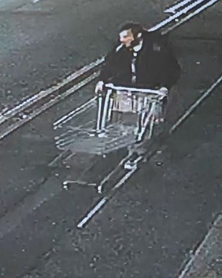 CCTV spots man who allegedly broke into KPA Studios, Romford, and filled his trolley with stolen ite