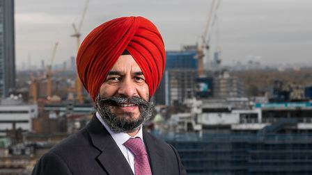 Cllr Jas Athwal, leader of Redbridge Council, pictured on the roof of Lynton House looking out towar