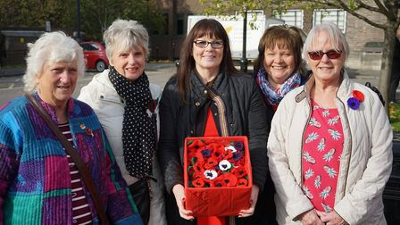 Members of The Mercury Mall's Breakfast Club knitted nearly 500 poppies for this year's Poppy Appeal