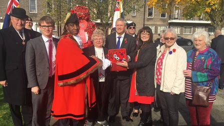 Havering councillors with the Mayor of Havering and Romford MP Andrew Rosindell at the Poppy Appeal