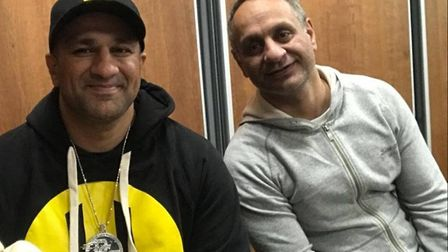 Com Mirza, left, in promotional gear for Habibi Coin, and right, older brother Rocky Mirza. Picture: