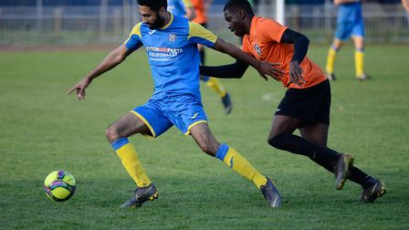 Action from the Essex Senior League match between Tower Hamlets and Clapton at Mile End Stadium (pic