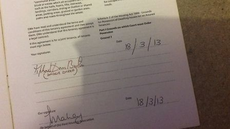 "The lease agreement signed by the mayor ""under duress"". Picture: Michael Deon Burton"