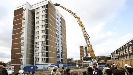 Demolition of one of the original Mardyke Estate tower blocks in 2009. Picture: Archant