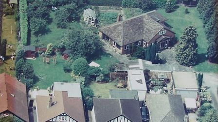 An aerial view of the bungalow in Haynes Road, Hornchurch, which developers are planning to demolish