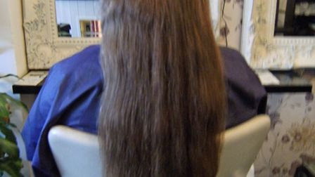 BEFORE: Anna McKay's waist-length tresses just before the drastic haircut