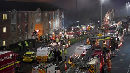 Emergency services at the scene of an explosion at the Bridge Point flats in Hornchurch. Picture: PA
