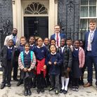 Curwen Primary School pupils outside 10 Downing Street. Picture: Tapscott Learning Trust