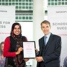 Shabana Shaukat, chairwoman of governors, with Downshall Primary School headteacher Ian Bennett. Pic