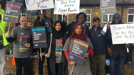 NEU members from Newham Sixth Form College went on strike today as part of national industrial actio