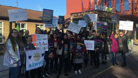 Around 30 NEU members held a demonstration outside NewVic before joining a rally in central London.