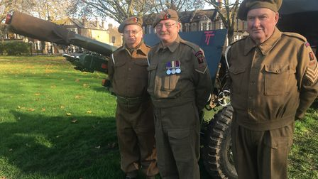 L-R: Tilbury Garrison Volunteers, Gavin Cooper, David Nesbitt and Graham Wallin, who fired a 25-poun