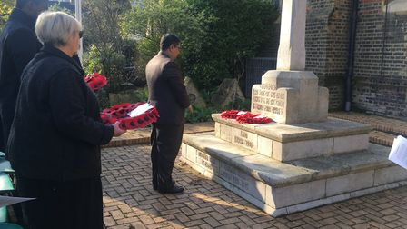 Newham councillors joined in the laying of wreaths during the service. Picture: Andrew Brookes