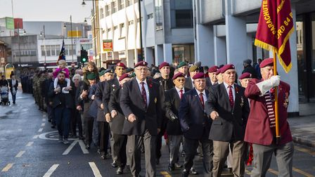 Romford Remembrance Day service and parade in Romford Town Centre. Picture: Ellie Hoskins
