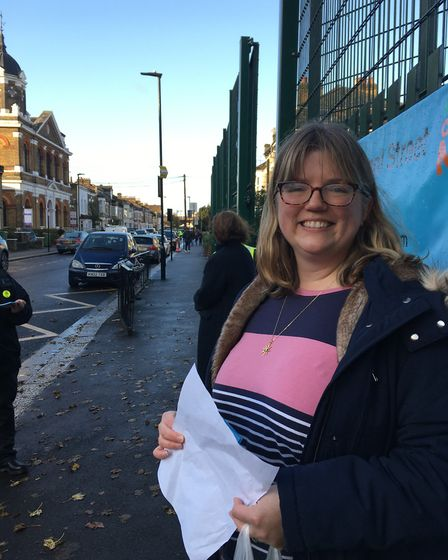Cllr Rachel Tripp in Sebert Road at the launch of the pilot scheme which sees some roads outside sch