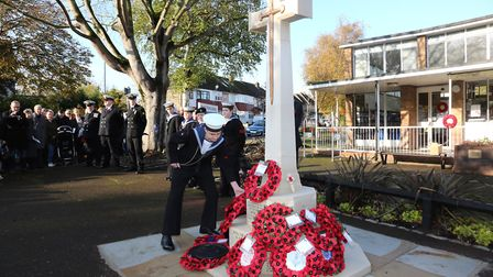 Sea cadets lay a wreath at the Harold Wood Remembrance Day service on Sunday, November 10. Picture: