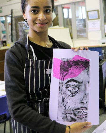 Sophia Mcintosh with her print. Picture: Rose Russell