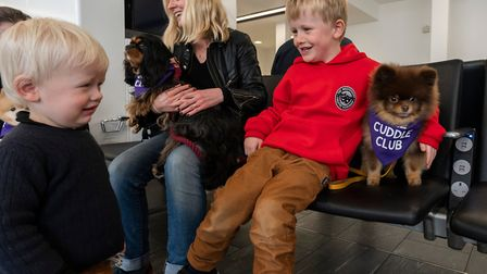The Drea family, travelling home to Dublin, got acquainted with the therapy dogs in the departures l