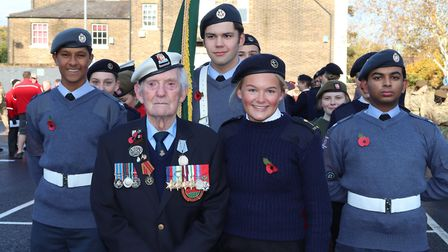 Brentwood School student Annabelle Hill with her 94-year-old grandfather Normandy veteran Victor Wal